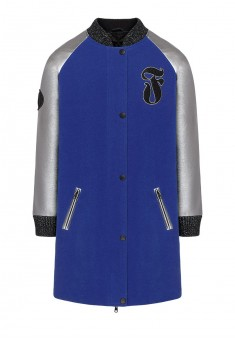Girls insulated coat with eco leather sleeves bright blue