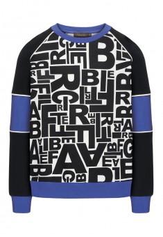 137B2502 Trikotāžas džemperis zēnam melnā krāsā ar apdruku