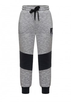 Boys jersey trousers with embroidery on front grey melange