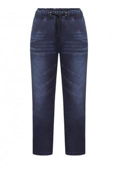 Трикотажные брюки в полоску с принтом для мальчика цвет темносиний