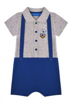 Трикотажный песочник с вышивкой и аппликацией для мальчика цвет серый меланж