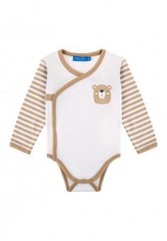 Baby Boy jersey kimono bodysuit milky