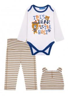 Baby Boy jersey 3piece set beige