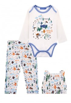 Baby Boy jersey 3piece set milky