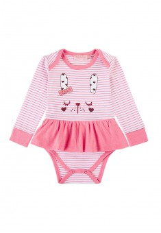 Baby Girl striped jersey bodysuit dress with a print motif bright pink