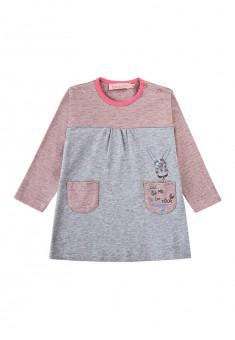 Трикотажное платье c принтом для девочки цвет яркорозовый