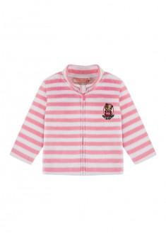 Куртка из флиса с вышивкой на трикотажной подкладке для девочки цвет янтарный
