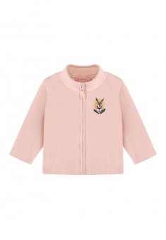 Baby Girl fleece sweatshirt with embroidery and jersey lining light pink
