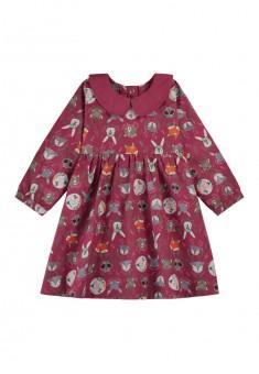 Платье с набивным рисунком для девочки цвет бордовый
