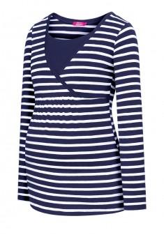 Трикотажная блузка с длинным рукавом для женщины цвет белыйсиний размер 4042