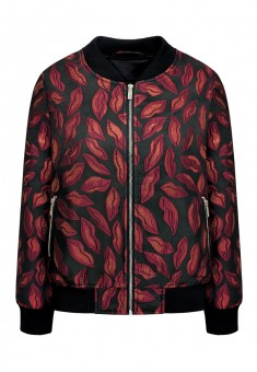 Bomber jacket with jacquard pattern scarlet