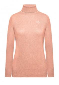 147W2301 Adīts džemperis sievietei rozā melanžas krāsā ar augstu apkakli un izšuvumu