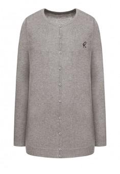Embroidered knit cardigan light grey melange