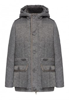 Boys insulated parka with a chevron light grey melange