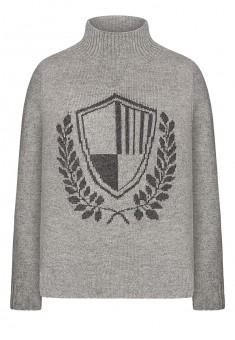 157B2302 Trikotāžas džemperis zēnam ar žakarda rakstu gaiši pelēkas melanžas krāsā