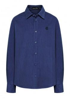 Рубашка из микровельвета для мальчика цвет яркосиний