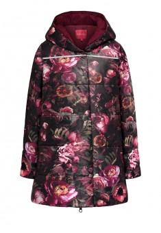 Утепленная куртка с цветочным рисунком для девочки мультицвет