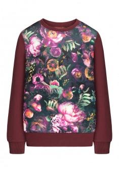 Girls floral print jersey sweatshirt burgundy