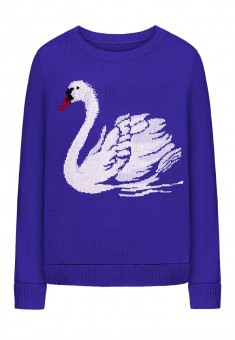 Knit motif jumper bright blue
