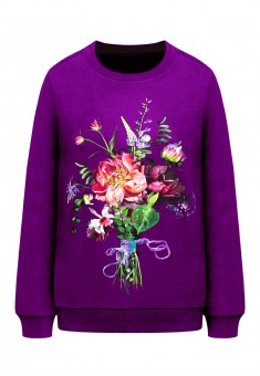 Printed jersey sweatshirt plum