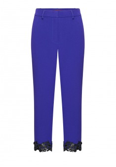 Lace and sequin hem trousers bright blue