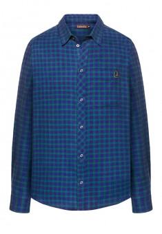 Фланелевая рубашка в клетку для мужчины цвет синезеленый
