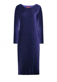 Платье из гофрированного бархата цвет темносиний