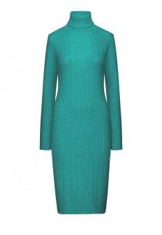 Удлиненное вязаное платье цвет бирюзовый