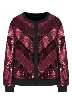 Sequin embellished bomber jacket red