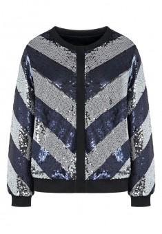 Sequin embellished bomber jacket dark bluesilver