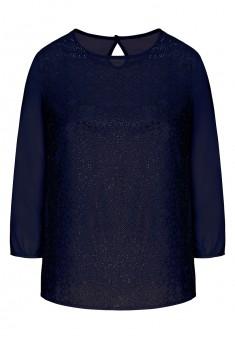 157W2621 Blūze sievietei tumši zilā krāsā ar rotājumiem