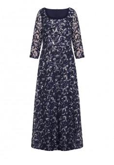 Длинное платье вышитое пайетками цвет темносиний