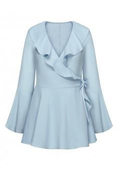 Блузка с воланами цвет сероголубой