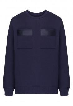 Трикотажный пуловер с длинным рукавом для мужчины цвет темносиний