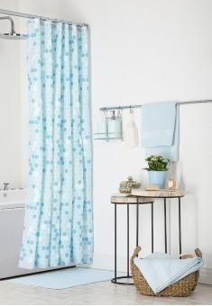 Шторка для ванной голубая
