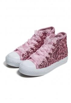 Высокие кеды для девочек Glossy розовые