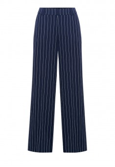 Wide Leg Creased Trousers dark blue