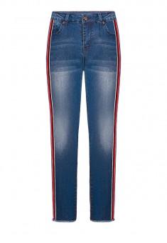 Укороченные джинсы с лампасами и бахромой цвет синий