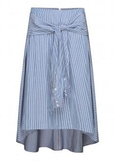 Удлиненная юбка в полоску цвет синебелый