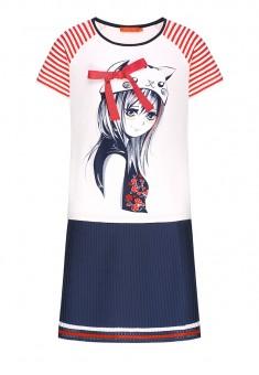 Трикотажное платье с коротким рукавом для девочки цвет мультицвет