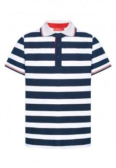 Легкий трикотажный джемпер с воротом поло с коротким рукавом для мальчика цвет синебелый