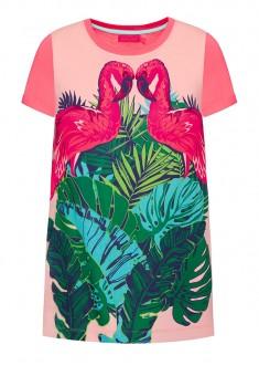Трикотажное платье с коротким рукавом для девочки цвет яркорозовый
