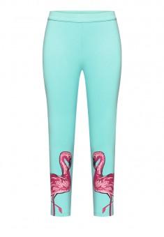 Обтягивающие трикотажные брюки для девочки цвет светлобирюзовый