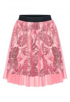 Юбка для девочки с отделкой из трикотажной сетки цвет мультицвет