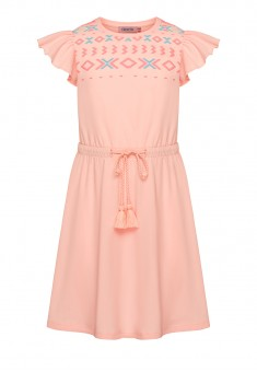 Girls Textured Print Dress light pink
