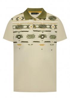 Boys Printed Polo Shirt light beige