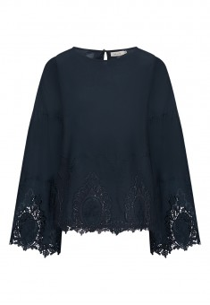 Embroidered Cotton Blouse dark blue