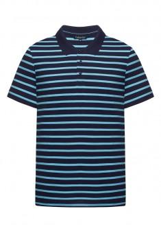 068M2802 Trikotāžas polo krekls vīrietim tumši zilā krāsā ar svītru rakstu