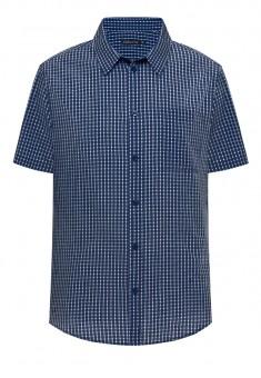 Mens Checked Shirt dark blue