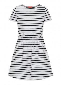 Трикотажное платье с коротким рукавом для девочки цвет белый
